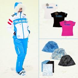 Комплект Парадный женский (парадная куртка, горнолыжные брюки, футболка, шапка, повязка на шею)